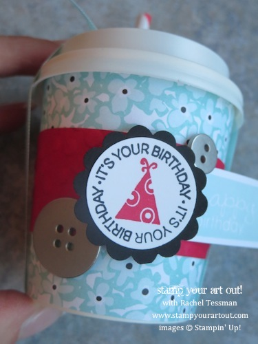 Mini Coffee Cup decorated with Sweet Sorbet paper & A Fitting Occasion and Banner Greetings stamp sets…  Stampin' Up!® - Stamp Your Art Out!... #cutecups