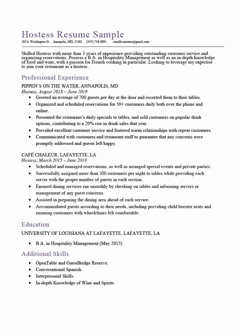 Host Job Description Resume Fresh Hostess Resume Sample