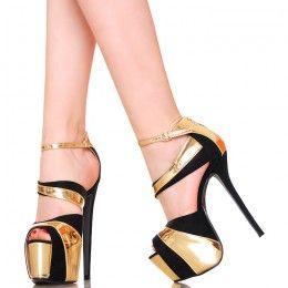 Sandaly Czarne Platformy Zlote Dodatki Heels Stiletto Heels Christian Louboutin Pumps