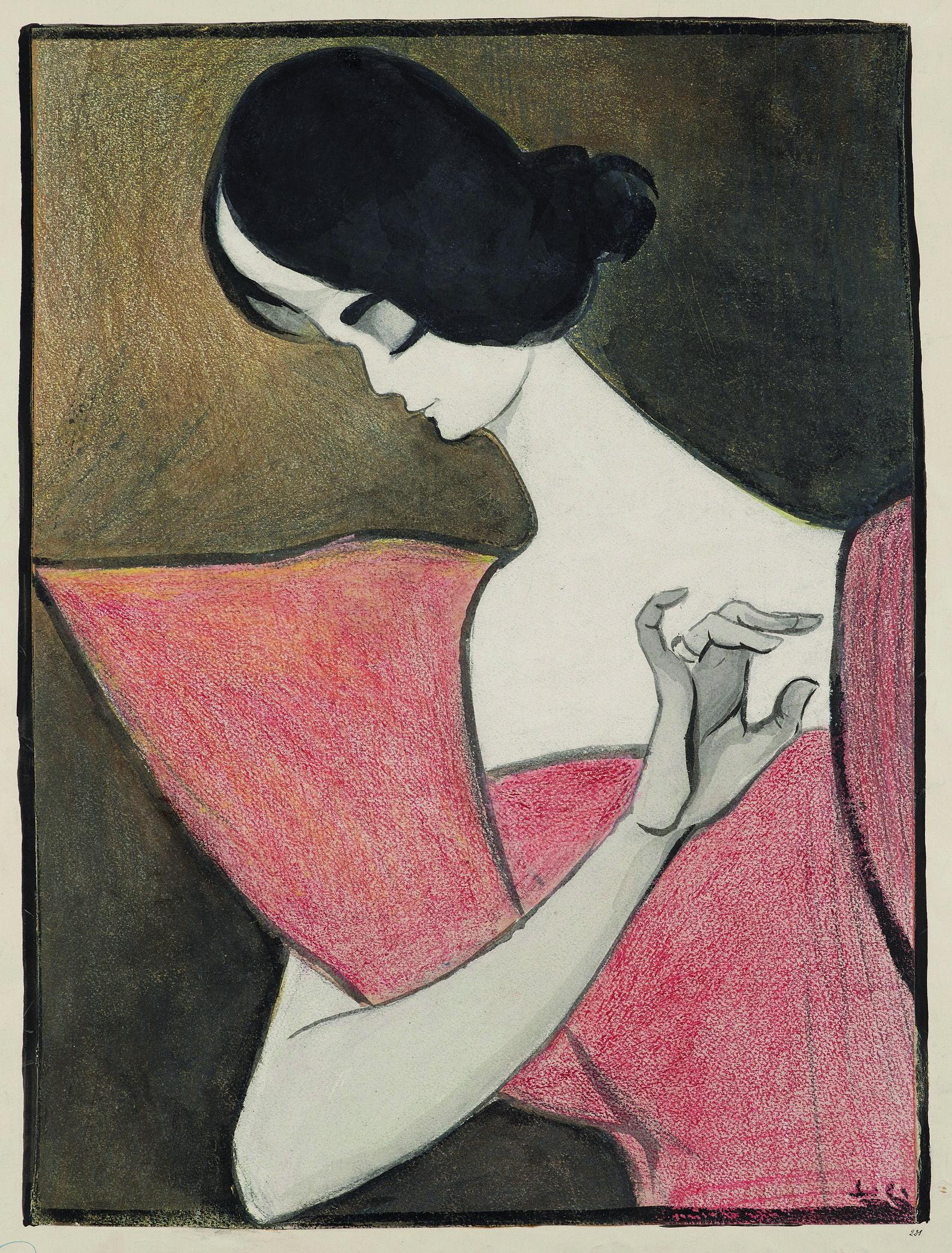 Tomás Júlio Leal da Câmara (1876-1948), Cléo de Mérode. Colored pencil. Watercolor and Chinese ink. Mathieu Néouze at the Salon du dessin 2015, 25 - 30 March.