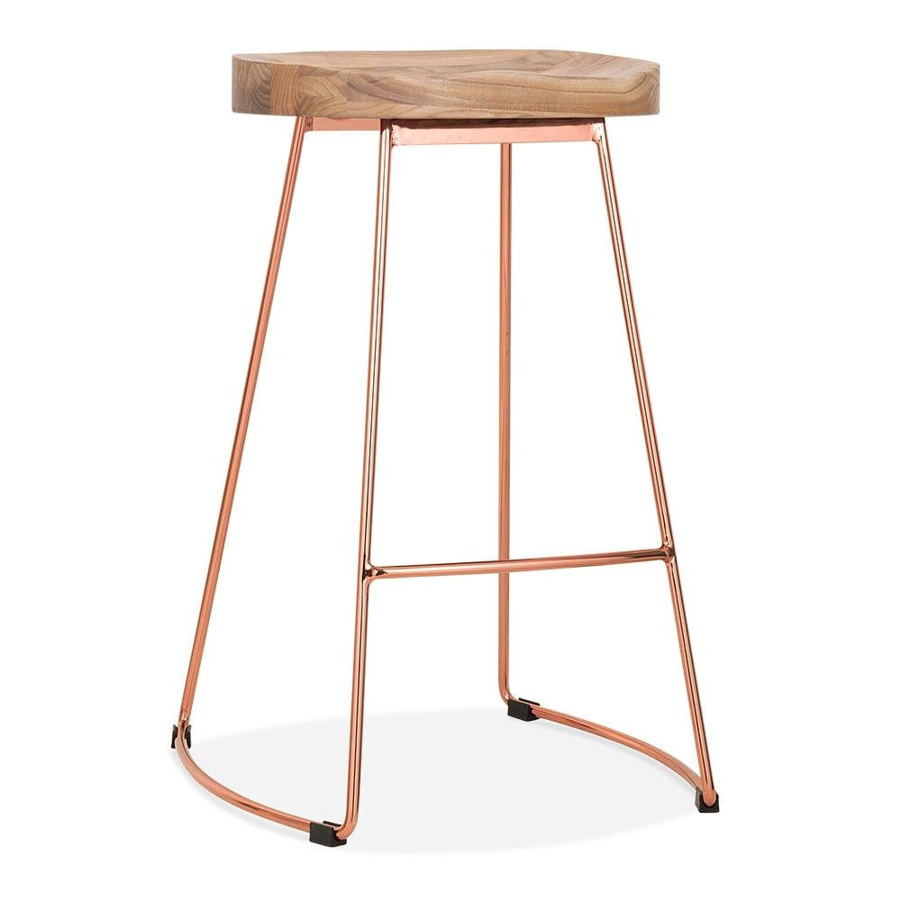 Cult Living Victoria Metal Bar Stool With Wood Seat Option   Copper 65cm Bar  Stools Kitchen