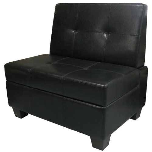 Butler Microfiber Upholstered Tufted Padded Hinged Storage Ottoman