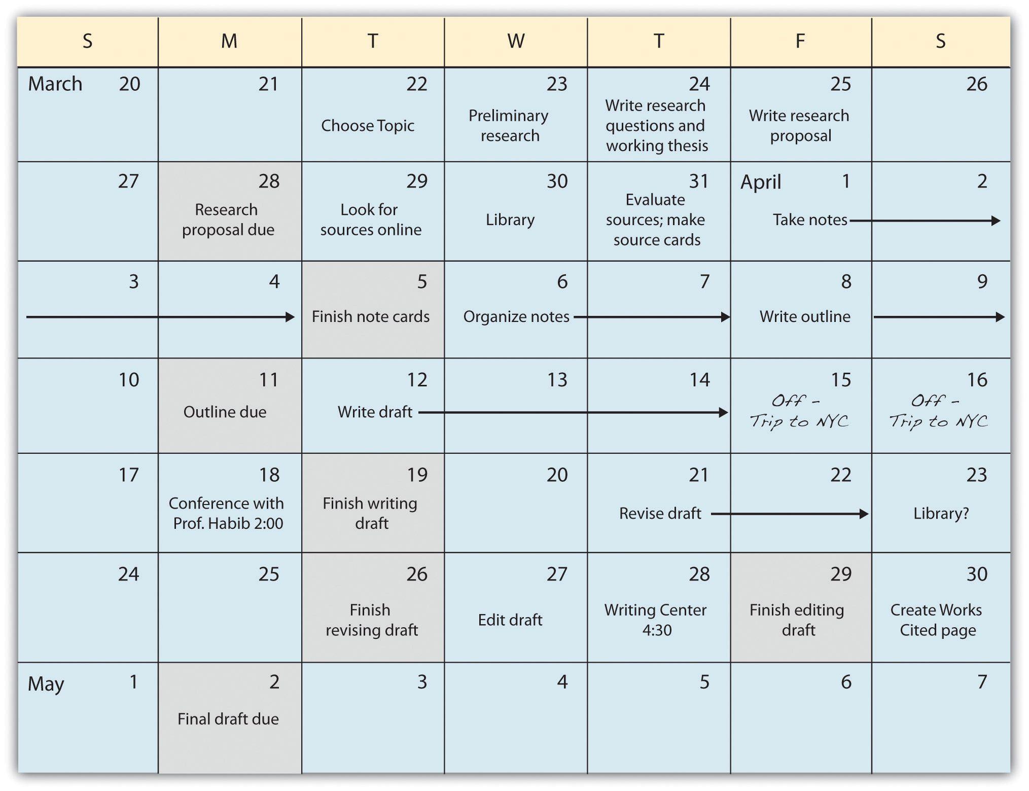 Research Paper Calendar