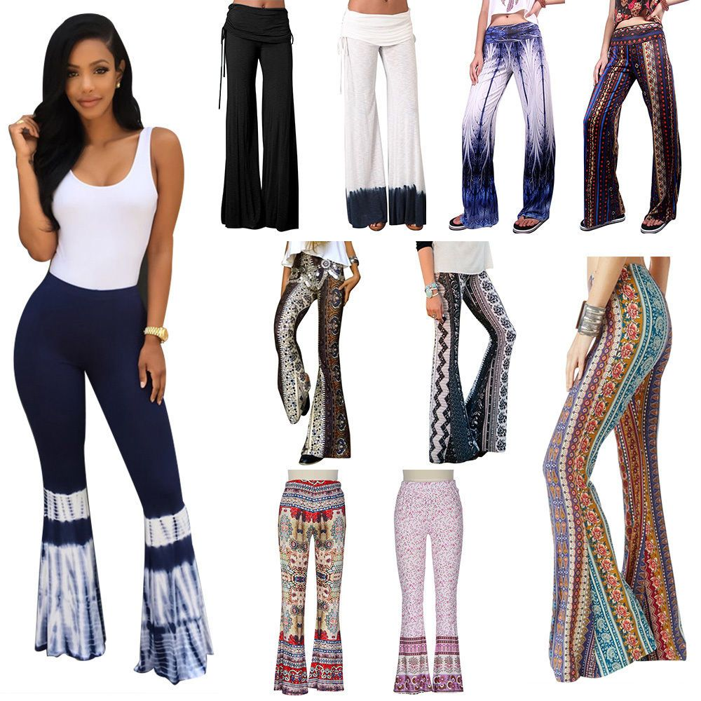BLUE WOMEN Knit Stretch Boho Print Bell Bottoms Long Flare Pants Hippie S M L