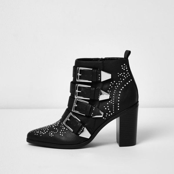 River Island Black stud buckle western heeled boots (105 NZD) ❤ liked on  Polyvore