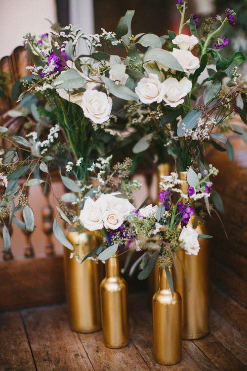 DIY gold vases from old bottles #wedding #flowers #decor Theatre wedding Wedding centerpieces