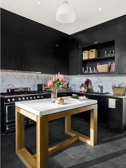 Like This Tall Kitchen Table, Not Heavy Visually. Could Still Put Bar  Stools Under · WohnraumGroße KüchenschränkeBewegliche KücheninselKochinselnSchwarze  ...