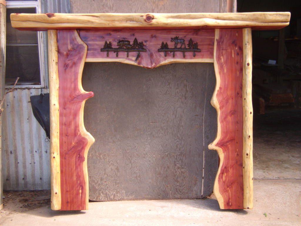 Red Cedar Log Fireplace Mantel. $695.00, via Etsy. | Log stuff ...