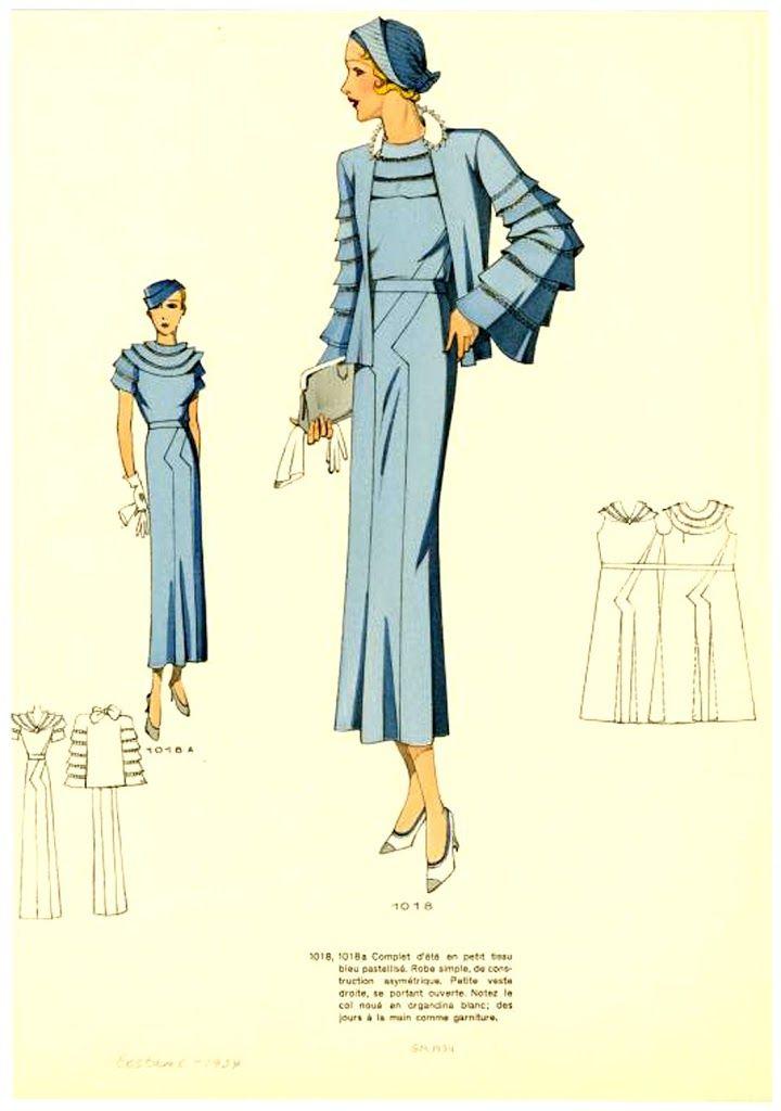1934)   1930s   Pinterest   Moda, Vestidos vintage and Moda vintage