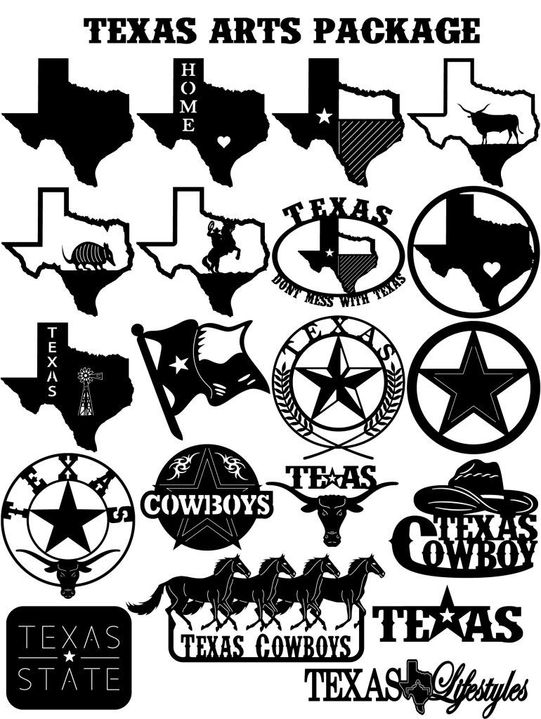 Texas Arts Package Dxf Cut Ready Cnc Designs Dxfforcnc
