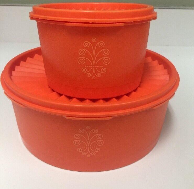 Lot of 2 Vintage Tupperware Orange Servalier Canisters with Lids 1297 1204 | eBay