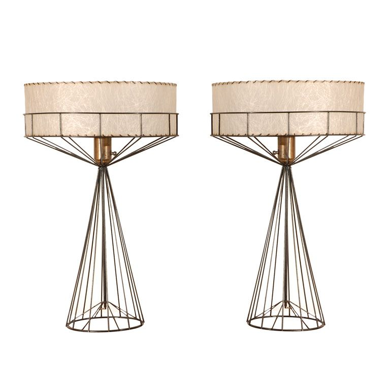 Tony paul table lamps from his wires collection collection heart the linear wire and fiberglass shade i may have one of this collection metal table greentooth Images