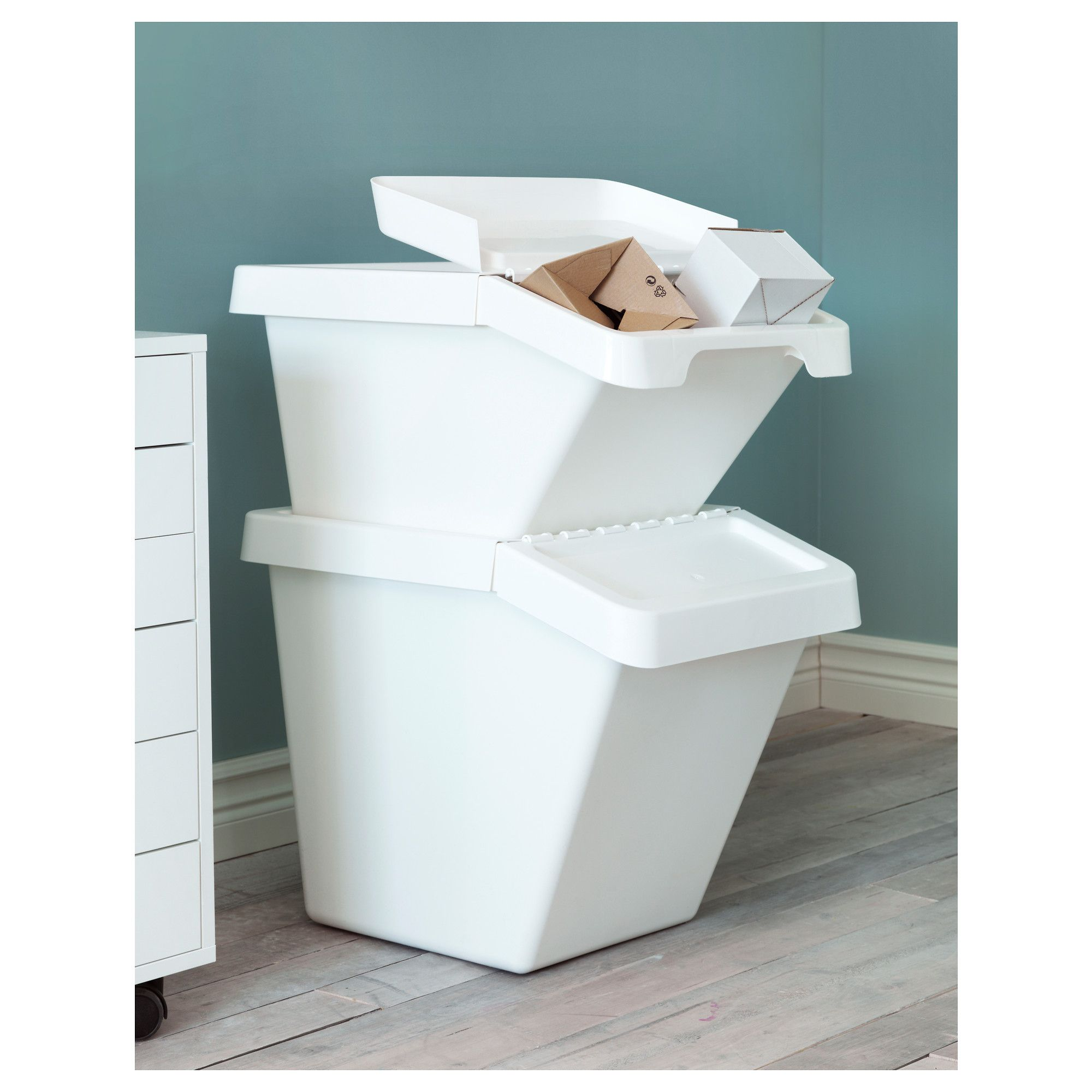 SORTERA Recycling bin with lid, white | Organizations, Storage and ...