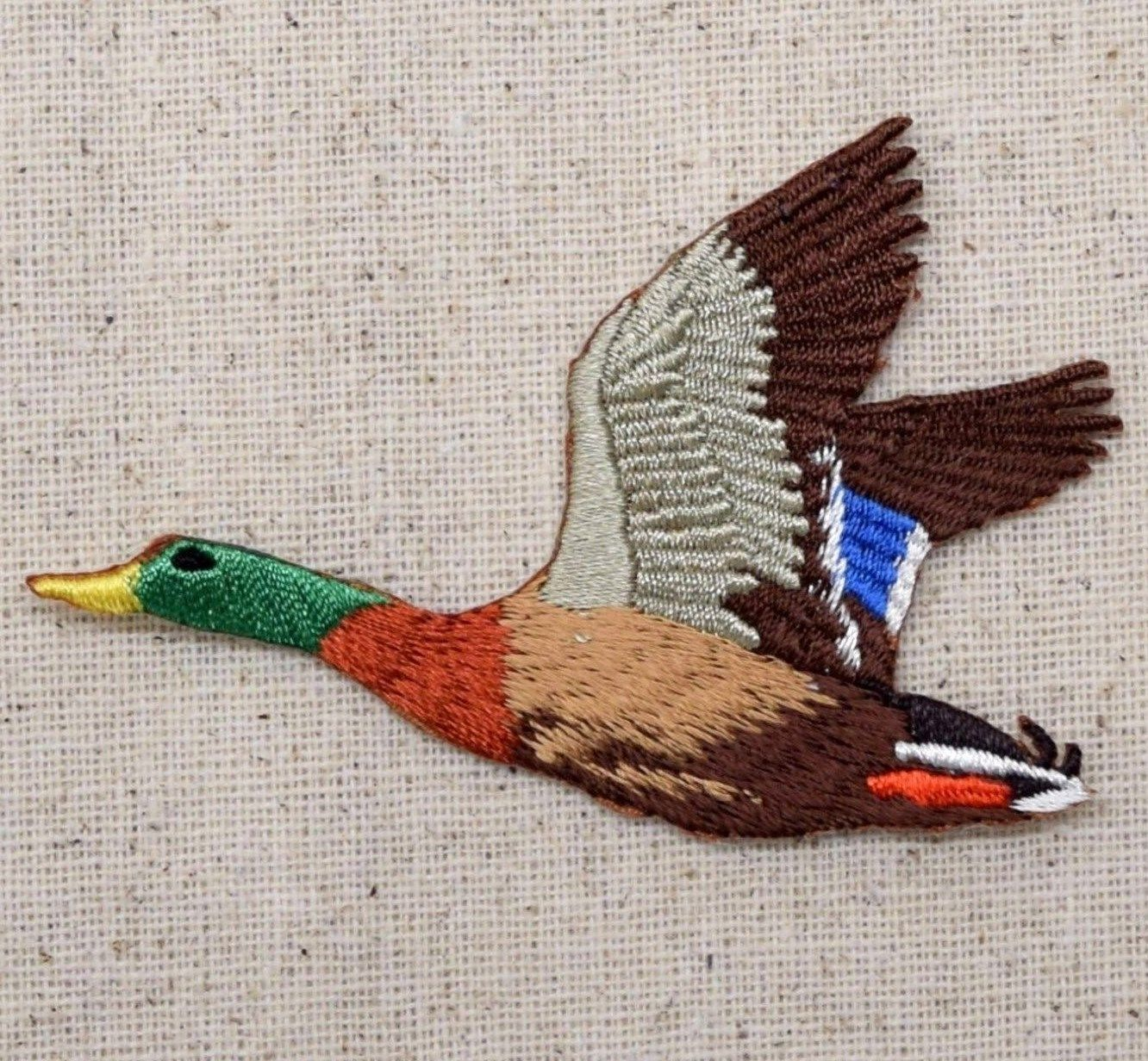 Duck Applique Patch Iron on Flying Drake Mallard Facing Right