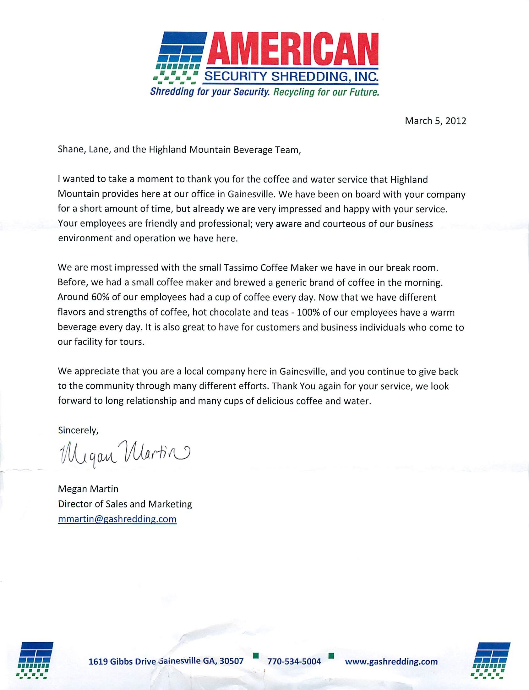 Customer Appreciation Letter Highland Mountain Water For Your