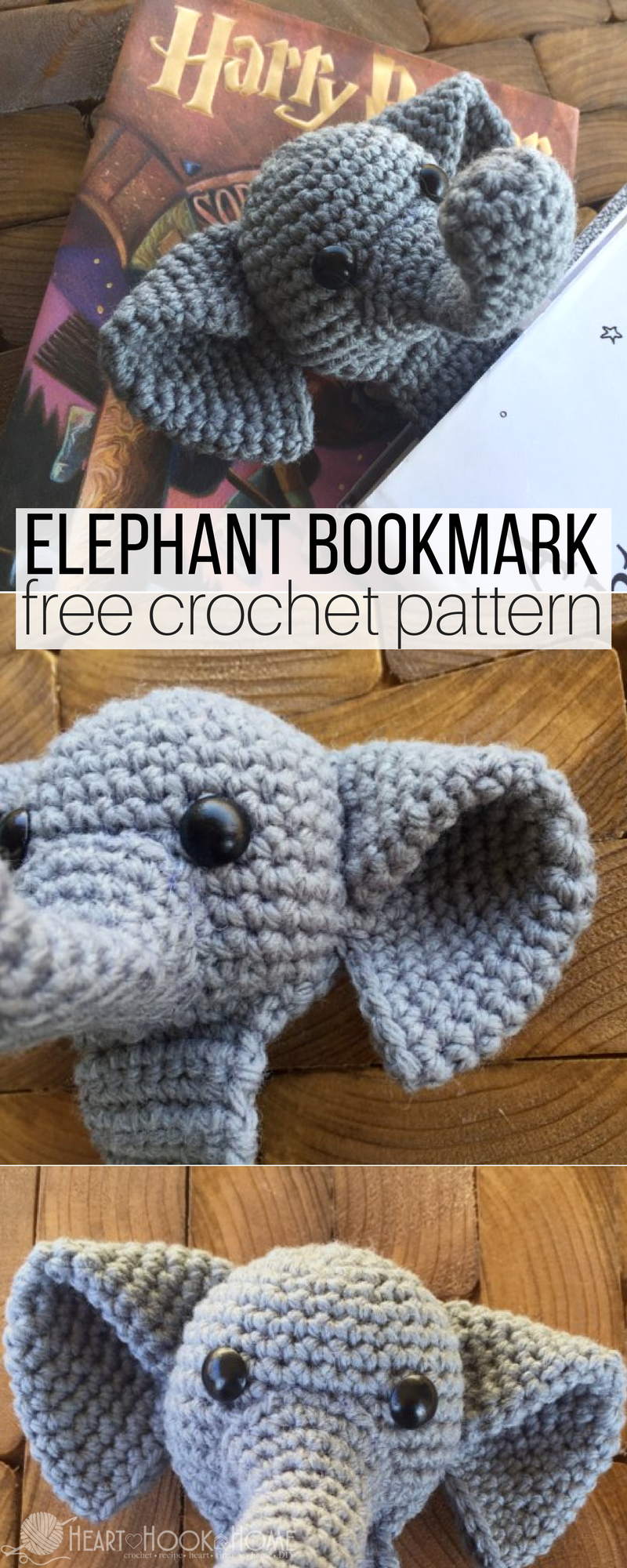 Webster the Elephant Bookmark Free Crochet Pattern | Marcadores de ...