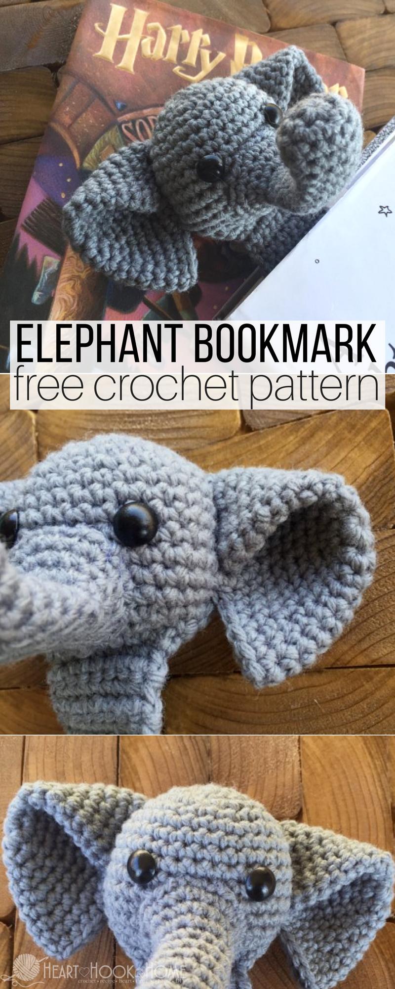 Webster the Elephant Bookmark Free Crochet Pattern | Pinterest ...
