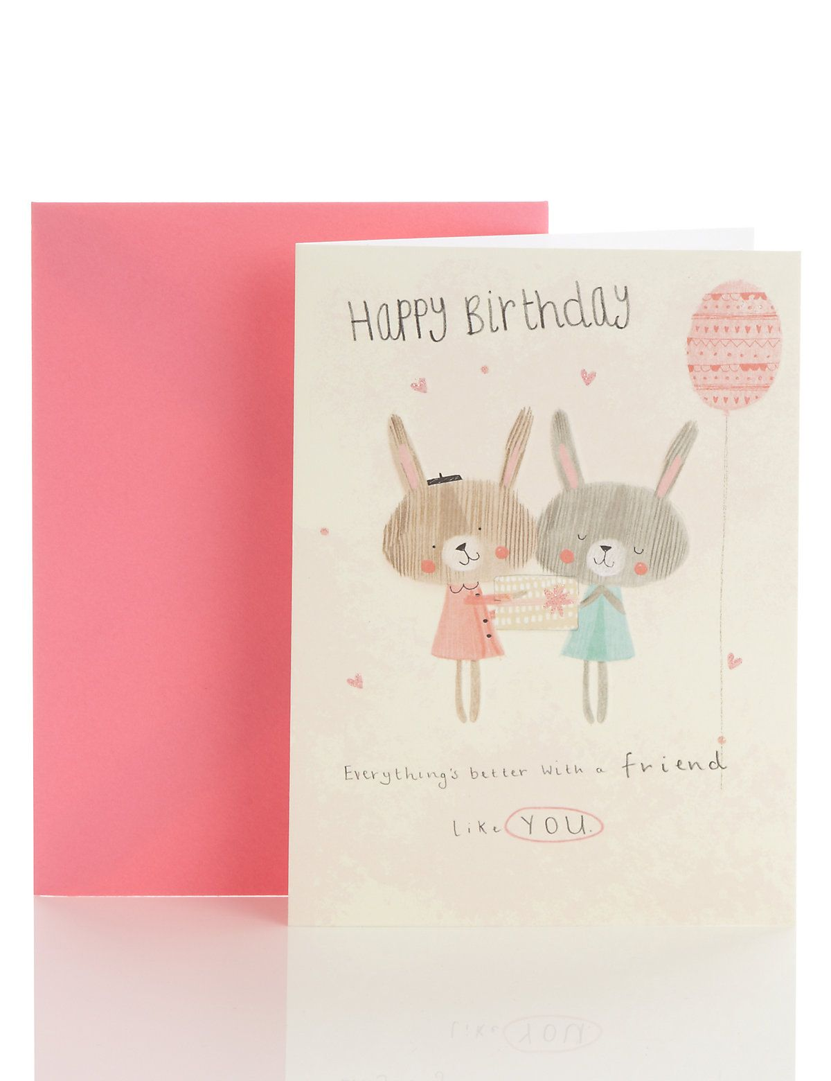 Cute rabbits with gift friend birthday card childrenus book