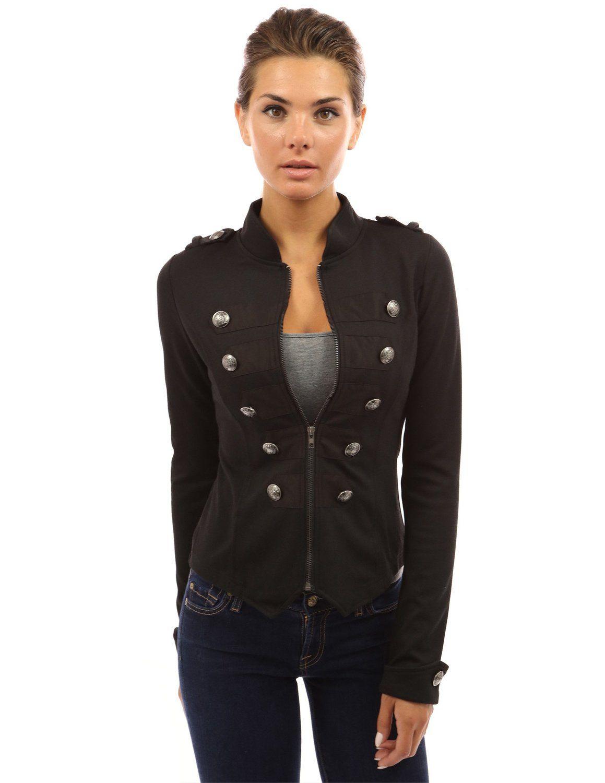 PattyBoutik Women's Zip Front Stand Collar Military Light Jacket ...