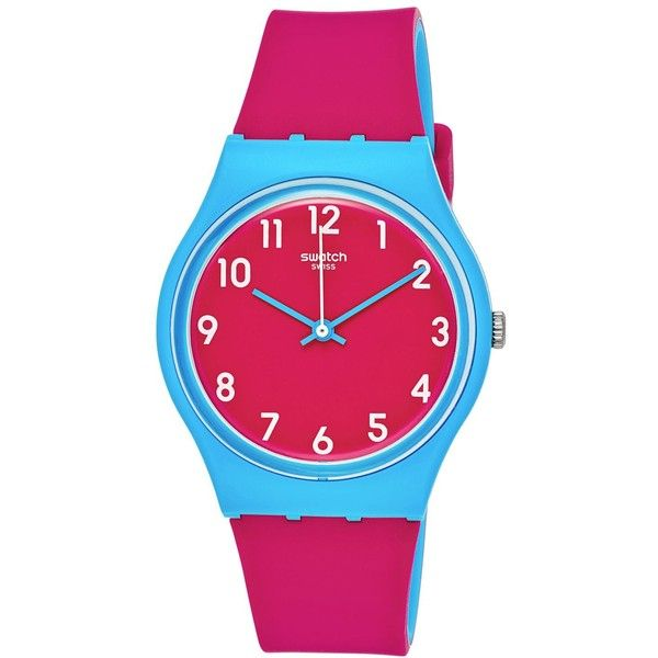 Swatch Women's Swiss Sport Mixer Pink and Blue Double-Layer Silicone... ($50) ❤ liked on Polyvore featuring jewelry, watches, pink, sport watches, pink watches, swatch jewelry, sports wrist watch and silicone strap watches