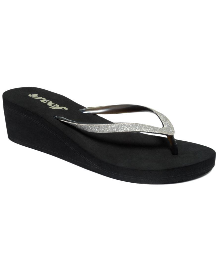 7a62bd8346c7ae Reef Krystal Star Wedge Thong Sandals Black Platform Sandals