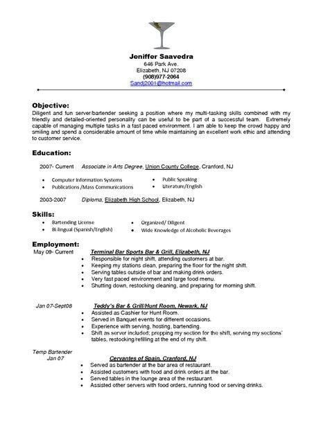Best Bartender Resume Endearing Professional Restaurant Server Resume  Httptopresume .
