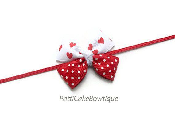 Valentine Baby Headband, Newborn Headband, Infant Headband, Girls Headband, Toddler Headband, Valentine Headband, Hair Bow, Photo Prop on Etsy, $5.95