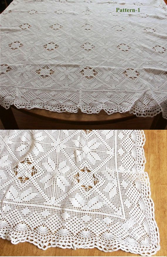 Four Patterns Cotton Handmade Vintage Style Crochet Bedspread Throw ...