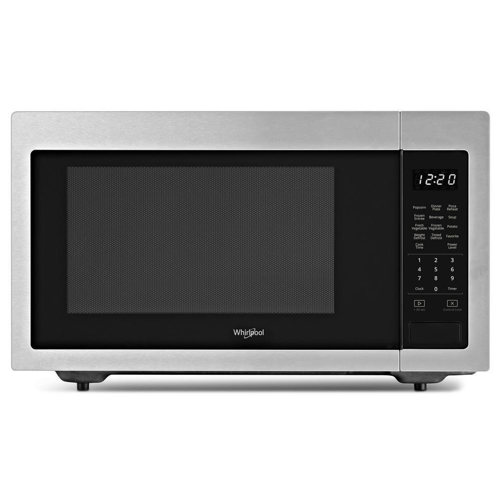 Whirlpool 1 6 Cu Ft Countertop Microwave In Fingerprint Resistant Stainless Steel With 1 200 Watt Cooking Power Countertop Microwave Oven Countertops Microwave