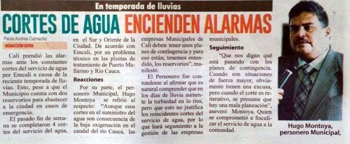 [Prensa - EXTRA Cali]  Cortes de agua en Cali encienden las alarmas [Impreso]