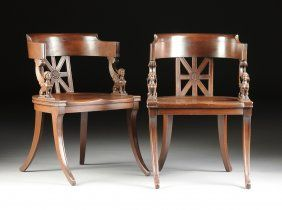 A Pair Of Elegant Regency Style Carved Mahogany Klismos