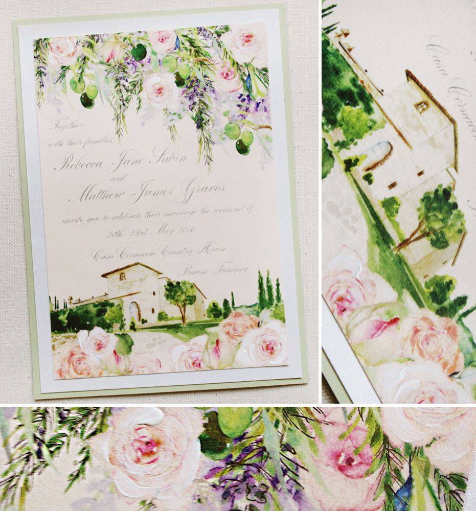 Rebecca S Watercolor Italy Wedding Invitations
