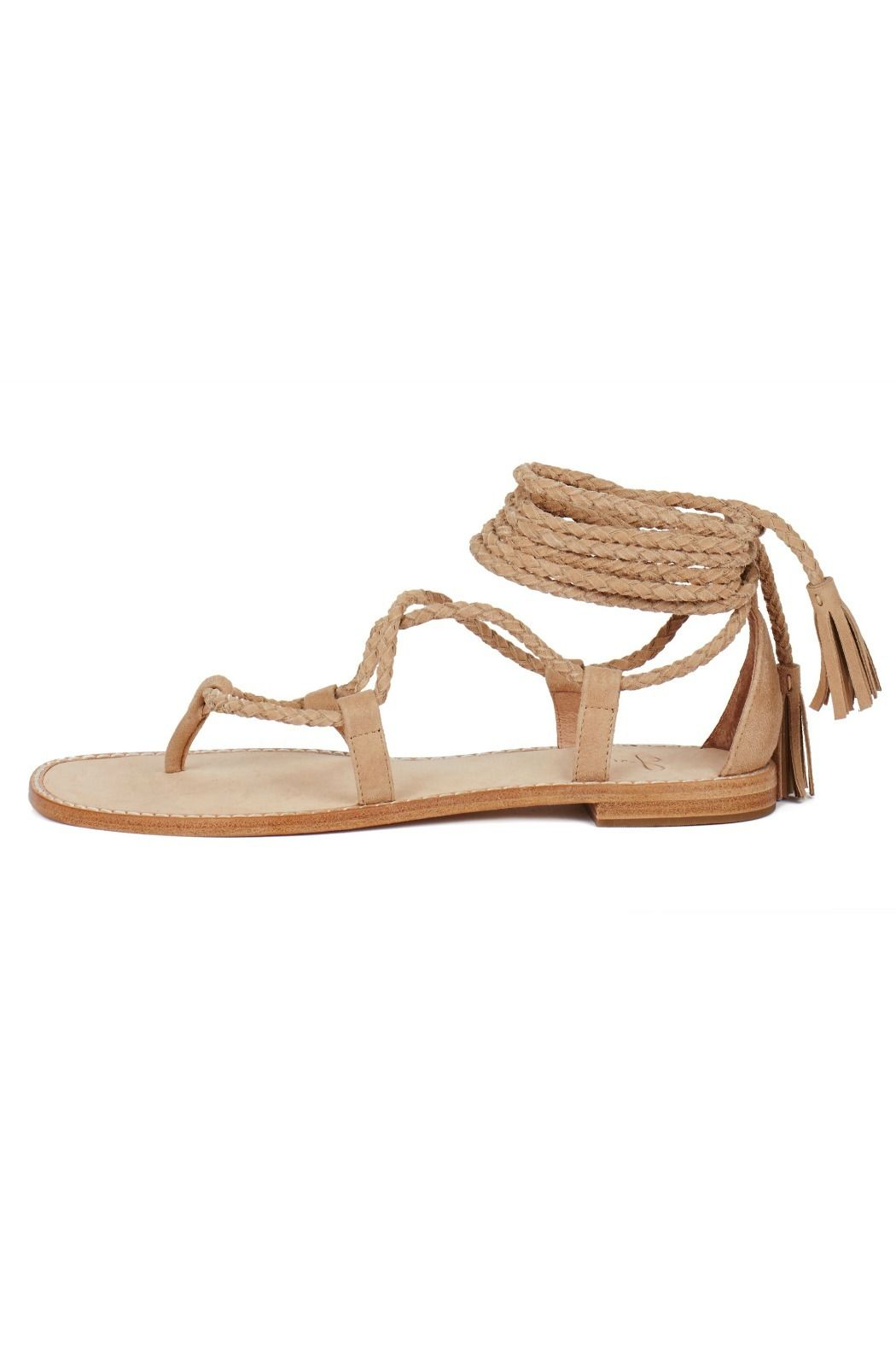 """Guaranteed to be in constant wardrobe rotation this season our 70s inspired Bailee sandals feature braided wraparound straps with tassel details that tie around the ankle. When selecting your size we advise to size down a half size.  Heel: .4""""  Bailee Sandals by Joie. Shoes - Sandals - Flat Wicker Park Chicago Illinois"""