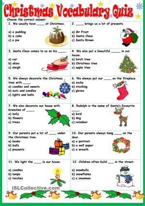 Christmas Vocabulary Quiz worksheet  Free  Celebrations Around