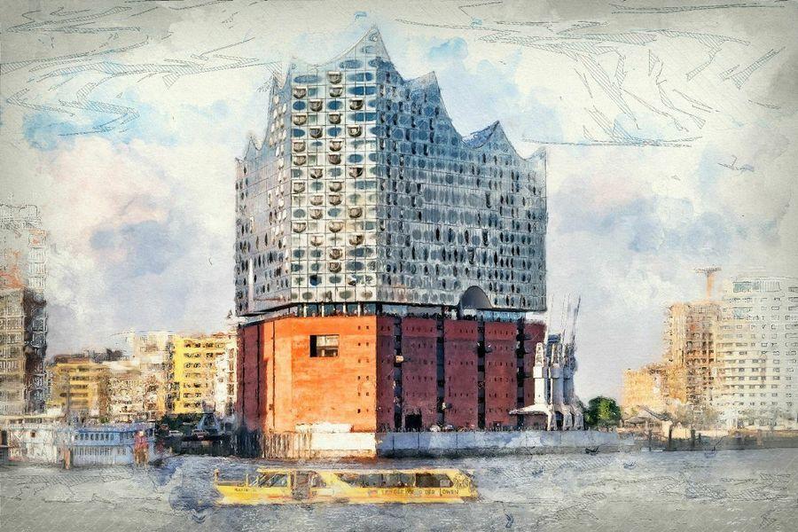 Die Neue Elbphilharmonie In Hamburg Poster Peter Roder Ohmyprints Hamburg Poster Hamburg Poster