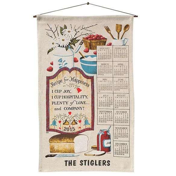 Personalized Recipe For Happiness Calendar Towel - Zoom