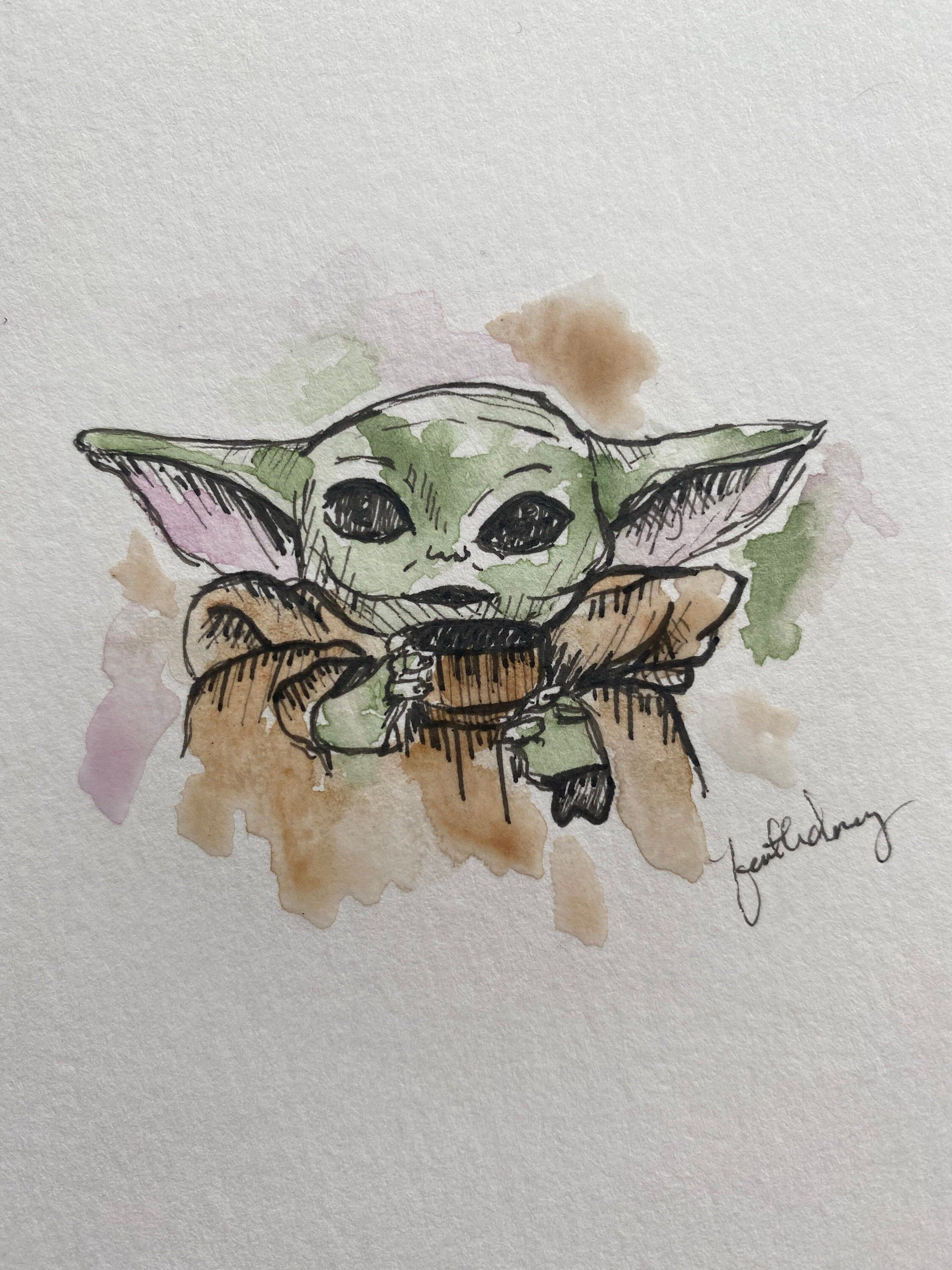 Baby Yoda Watercolor Painting Print By Artfromfaith On Etsy Https Www Etsy Com Listing 760896851 Baby Yoda Waterco Watercolor Paintings Star Wars Artwork Art