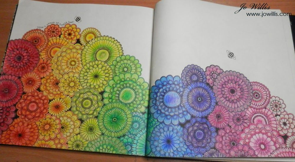 Here I Go Again Finished Floral Rainbow Colouring
