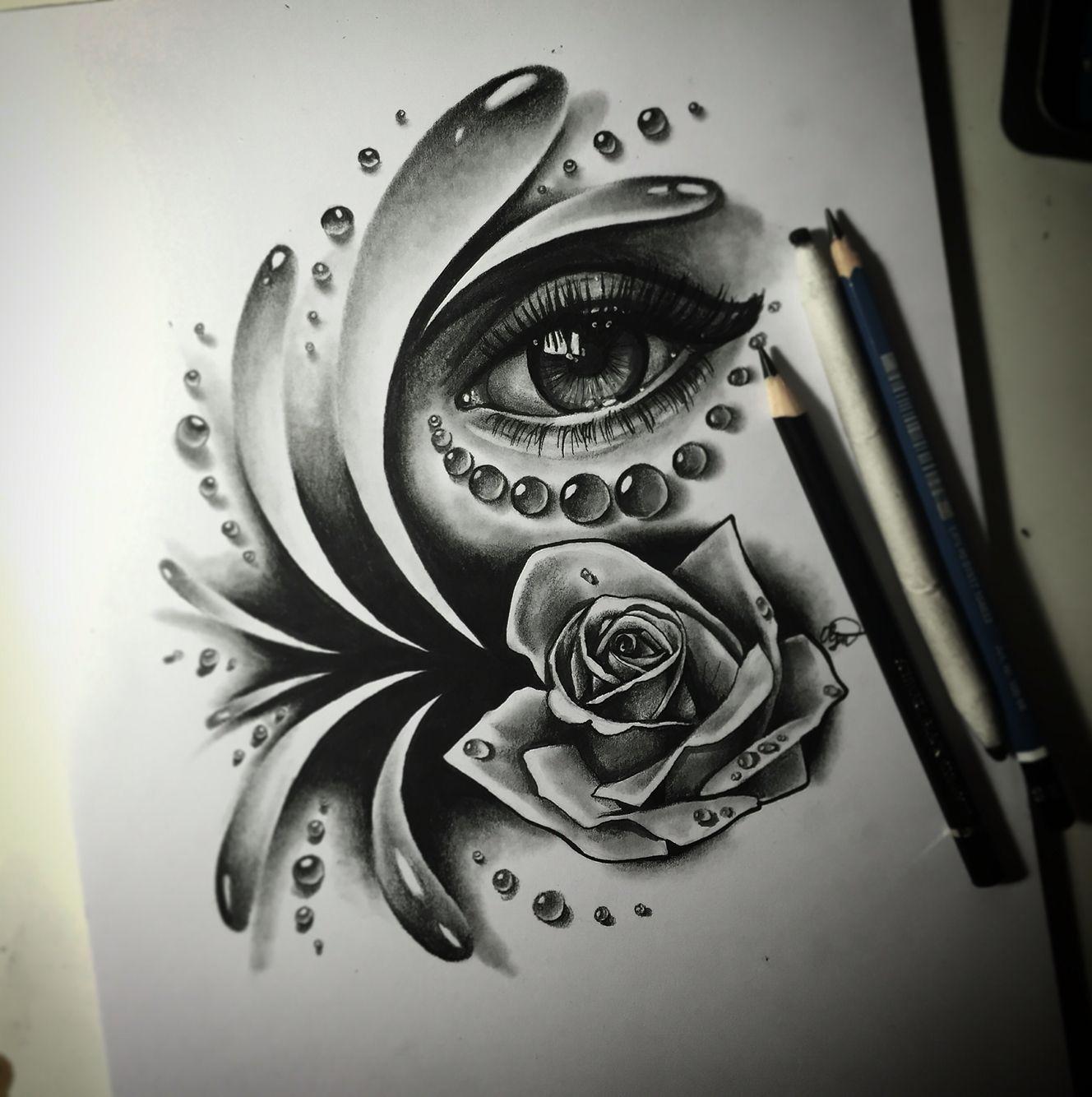 Realistic eye drawing by Olga Dolganowa eye drops water