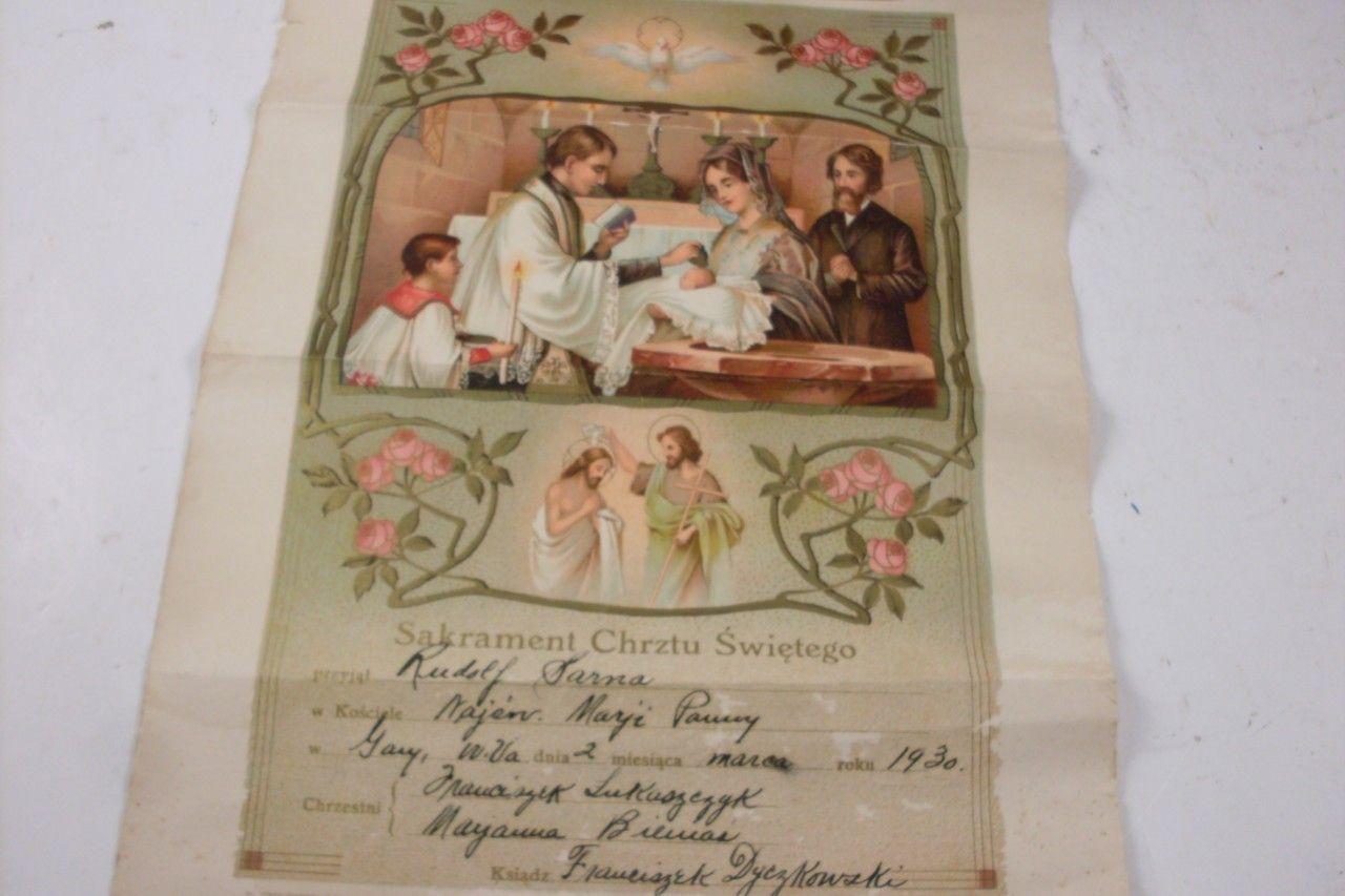 Vintage 1930 baptismal christening certificate written in polish vintage 1930 baptismal christening certificate written in polish rare ebay 1betcityfo Images