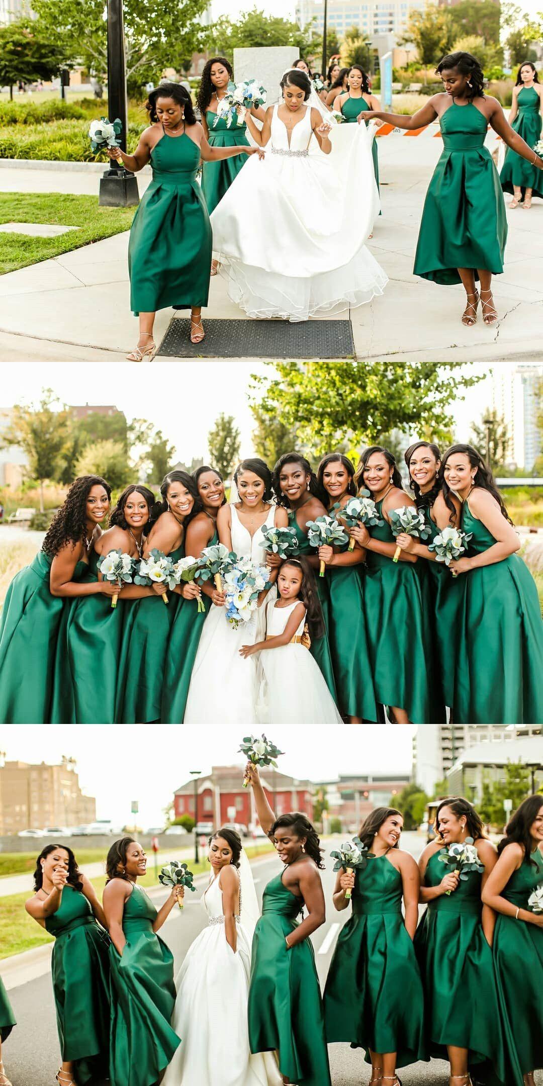 Halter Short Emerald Green Bridesmaid Dress From Modsele Emerald Green Bridesmaid Dresses Green Bridesmaid Dresses Tea Length Bridesmaid Dresses