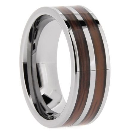 Wooden Rings Double Barrel Made In The Usa Tungsten Mens Rings Tungsten Band Rings For Men
