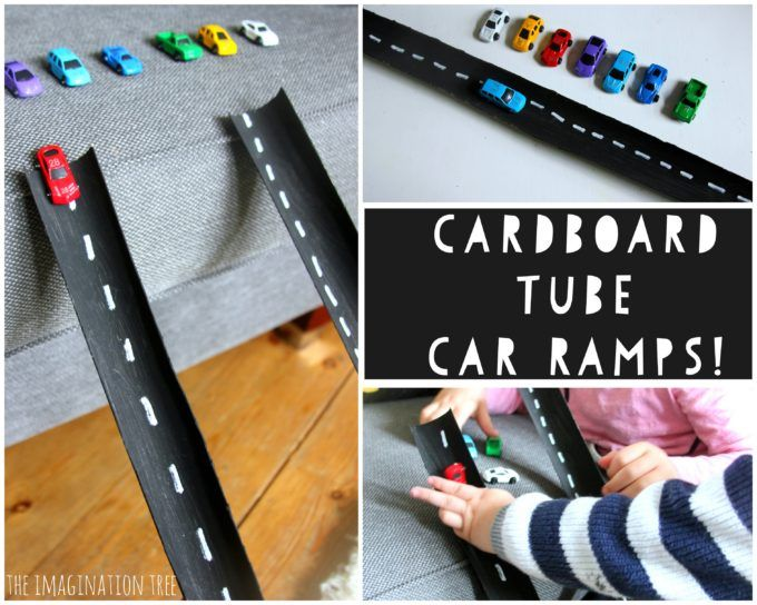 DIY cardboard tube car ramps and roads activity for kids