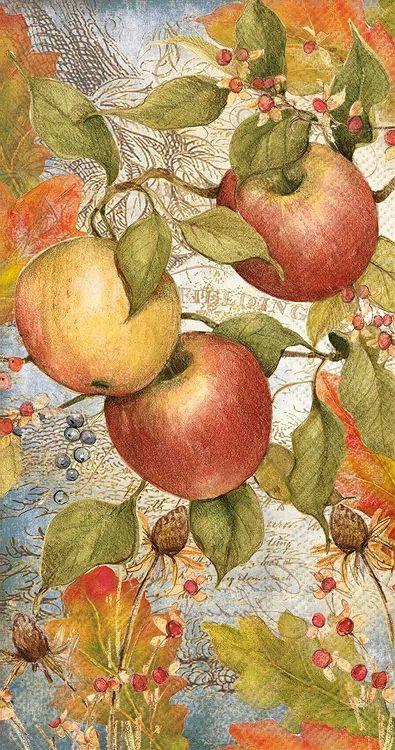 Fruit-apples-and blossom Paper Napkins Decoupage Decopatch