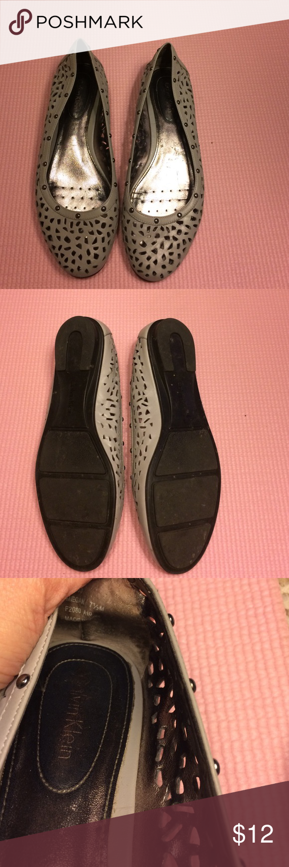 Gray studded Calvin Klein flats Cute gray cutout flats with studs around the edges. Have been worn, but still in great shape. Just too small for me. Calvin Klein Shoes Flats & Loafers