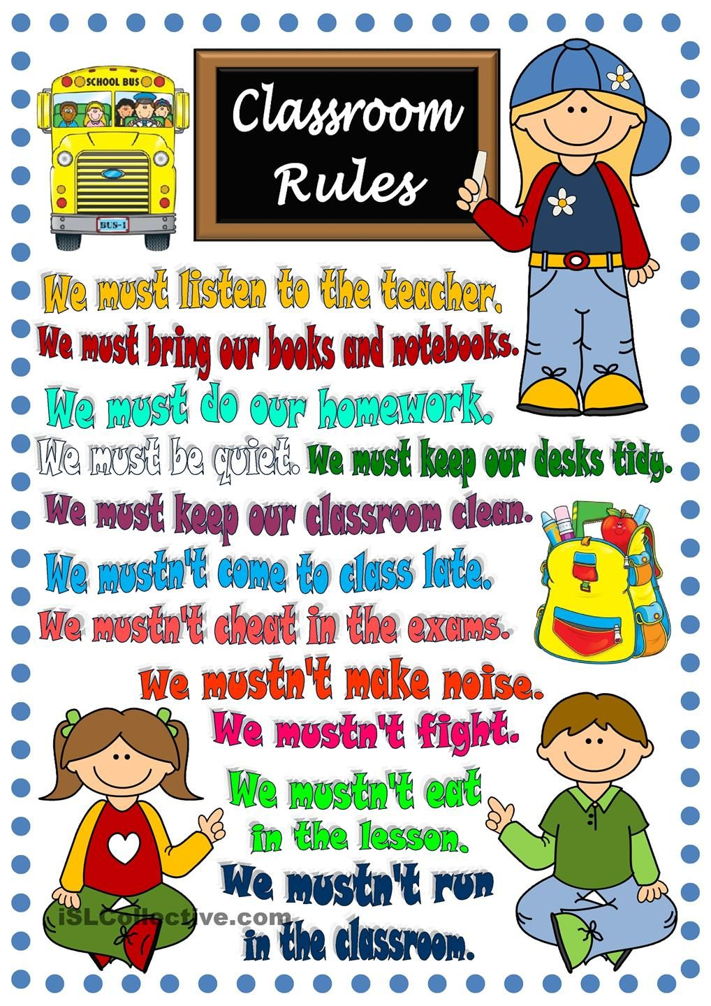 Modern Languages Classroom Posters ~ Classroom rules poster modal verbs pinterest