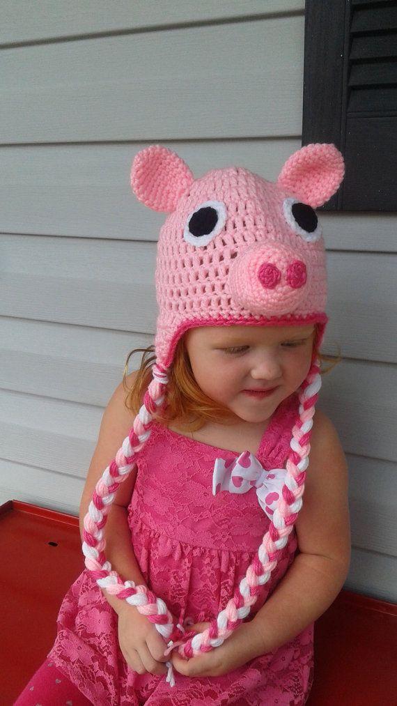 Crochet Peppa Pig inspired hat, Peppa Pig baby beanie, Pink peppa ...