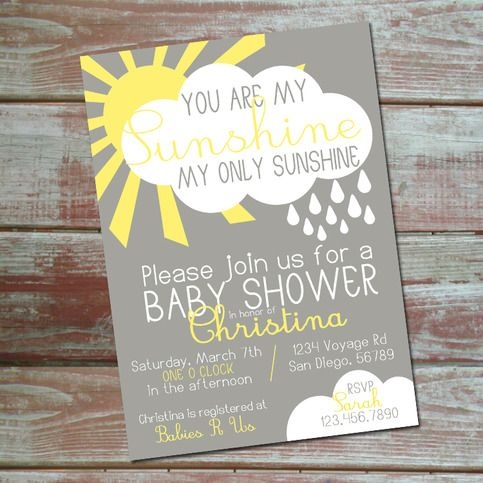 You Are My Sunshine My Only Sunshine Baby Shower Invitation. Custom  Printable Invitation.