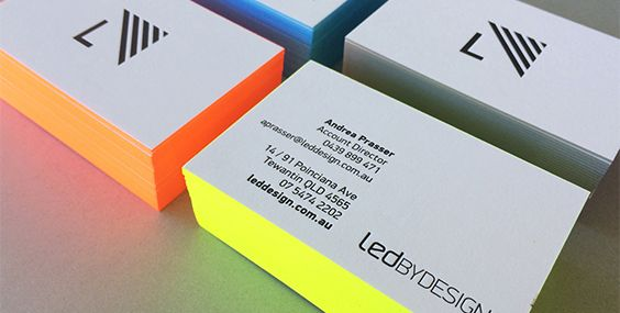Fluoro edge painted letterpress printed business cards by the love fluoro edge painted letterpress printed business cards by the love press brisbane australia reheart Image collections