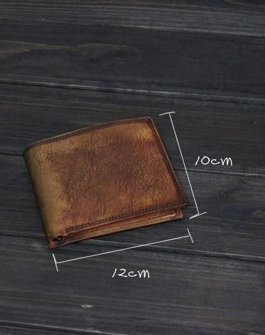 Handmade men short leather wallet men vintage brown gray short wallet for him #leatherwallets